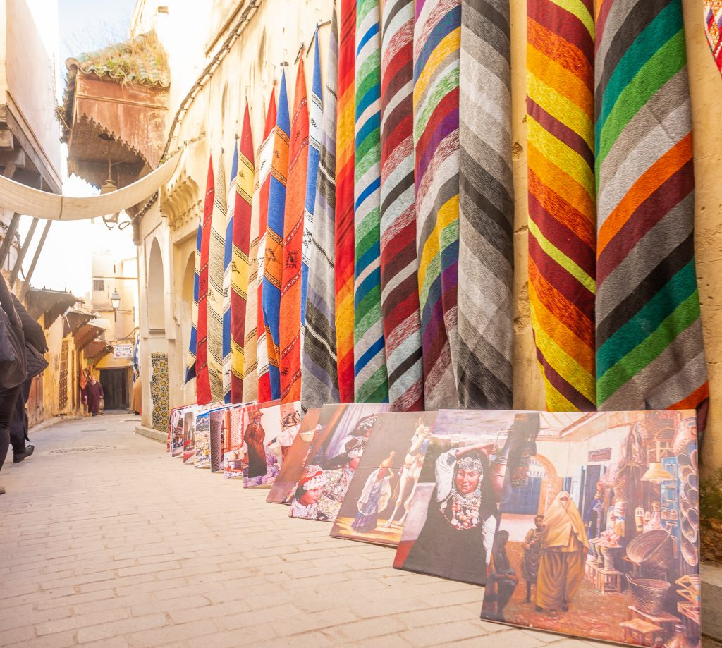 Carpets and art in the medina in Fes