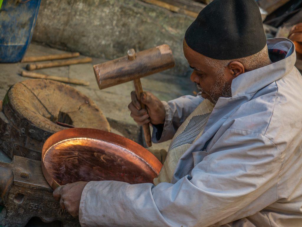 Copper craftsman in Fes