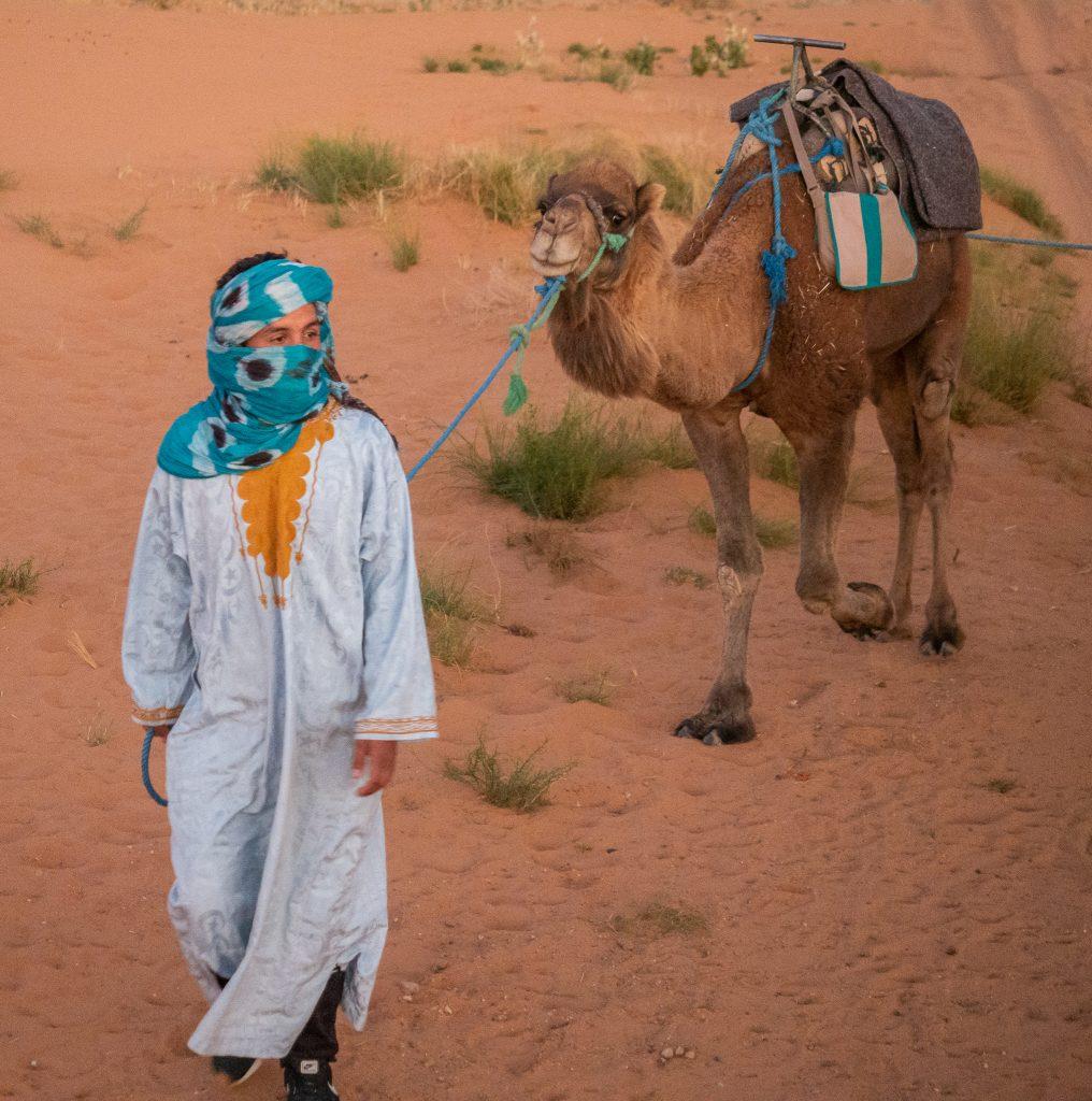 Camel ride in the Sahara desert Morocco