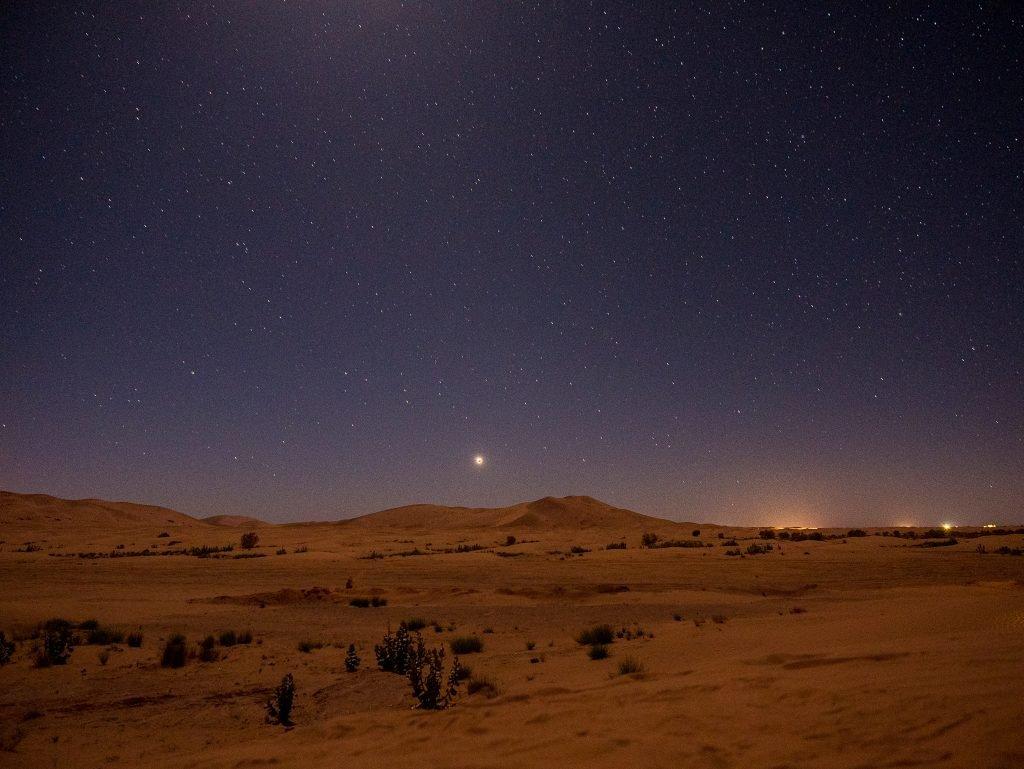 Stars in the night sky in the Sahara desert